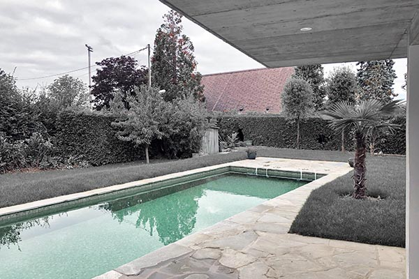 Burrus Nussbaumer Architectes, Piscine avec pool house à Onex / Swimming pool with pool house in Onex